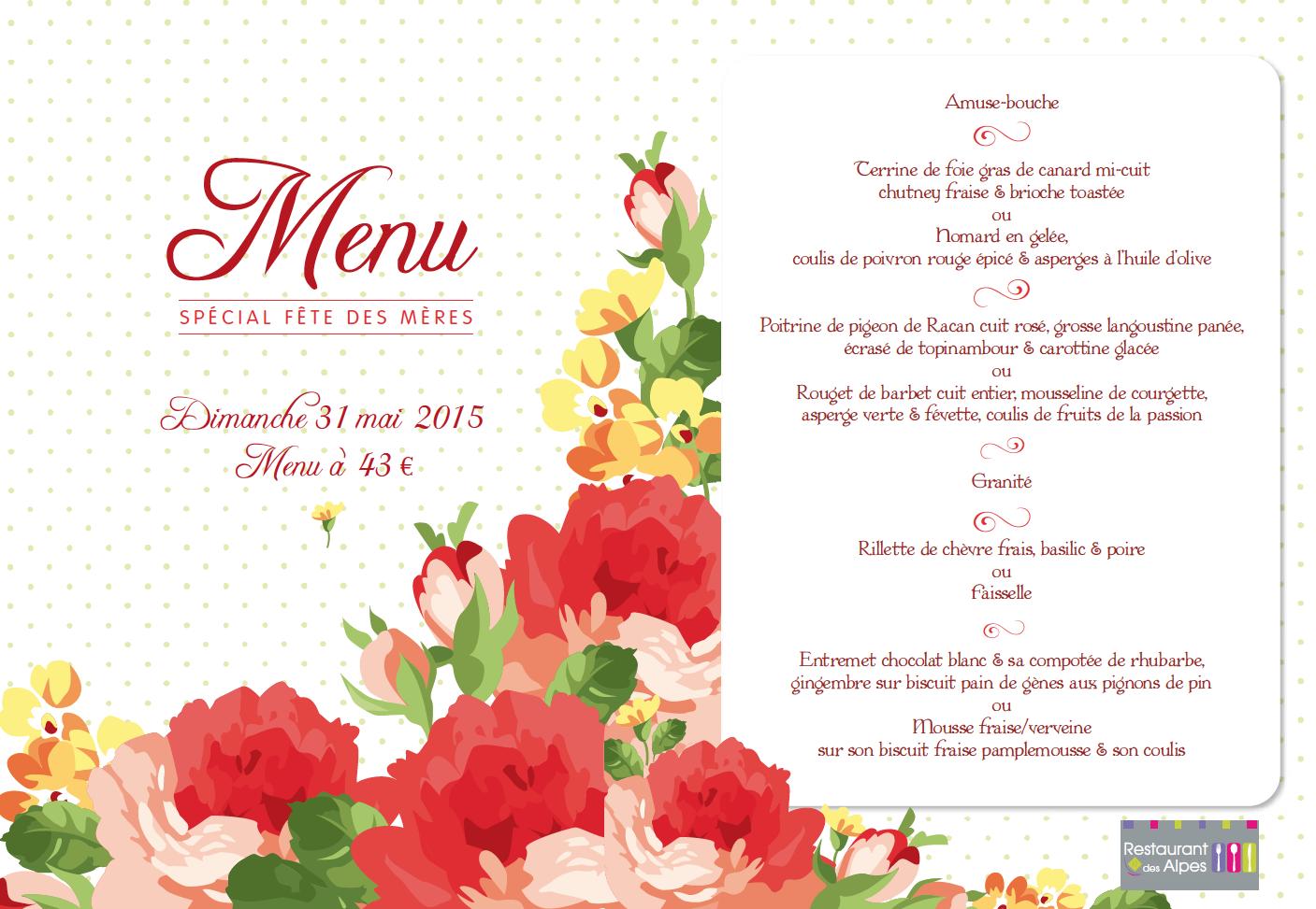 Menu De La Fête Des Mères Hôtel Restaurant Des Alpes