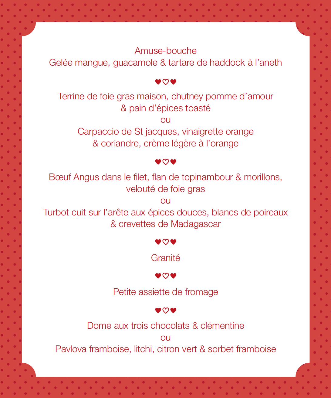 menu de la saint valentin 2016 h tel restaurant des alpes. Black Bedroom Furniture Sets. Home Design Ideas